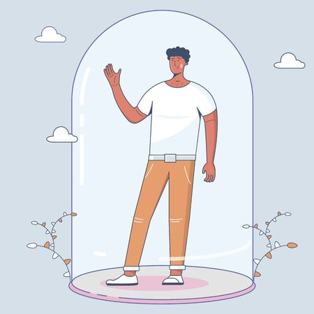Social distancing. Keep the 1-2 meter distance. Flat Illustration of a young man. Infection control concept, Coronavirus, 2019-nCoV, flu, virus. Vector Illustration