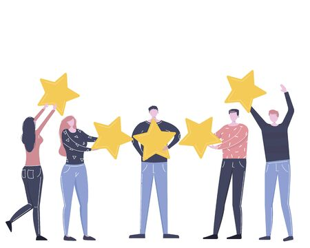 Customer review rating. Rank rating stars feedback. Different People give rating and feedback. The best estimate of performance, the score of five stars Vector flat cartoon illustration for web