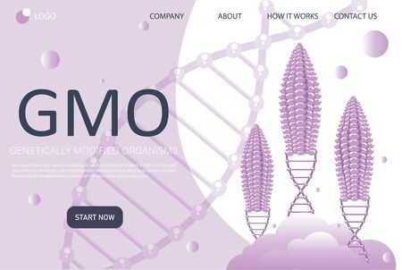 Genetic engineering landing page in flat style. Genetically modified foods. Food additives. DNA recombination. vector illustration