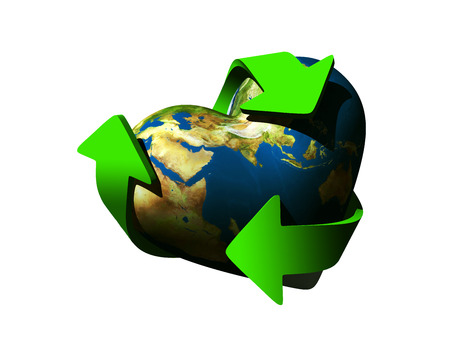 echo: world in the shape of a heart with recycle symbol