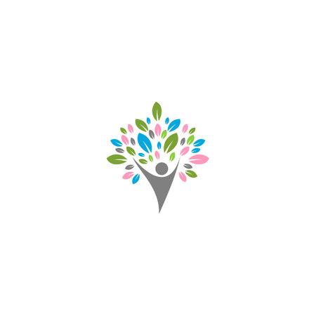 Creative People Life Tree Logo Design Template
