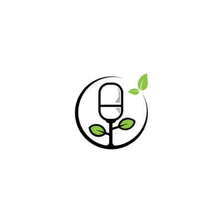Green Podcast Logo, Microphone and Leaf Design Template