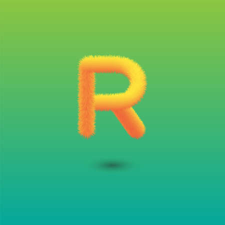 Hairy Letter R on Green Background. Isolated Vector Element