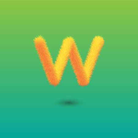 Hairy Letter W on Green Background. Isolated Vector Element