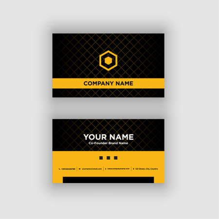 Modern and Clean Black Yellow Business Card Design Template