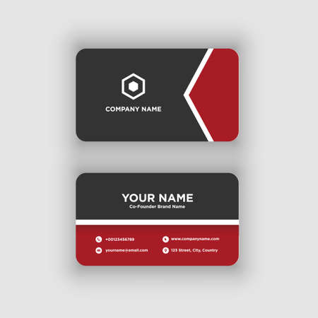 Modern and Clean Black Red Business Card Design Template Vettoriali