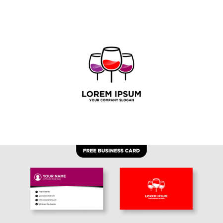 Wine Lounge Bar Logo and Business Card Template