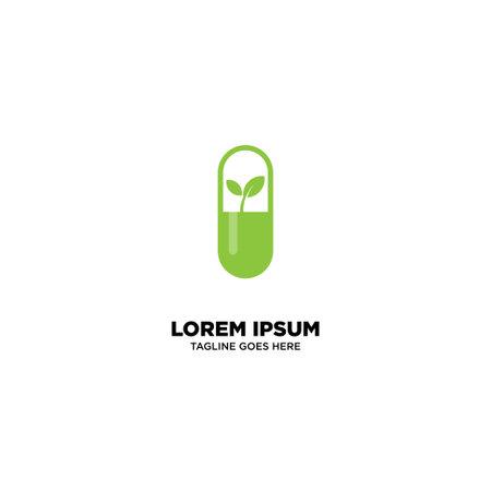 Herbal Supplement - Natural Medicine Logo Template, vector illustration - Vector Logo