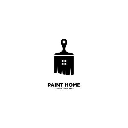 paint home logo simple line logo template vector illustration - Vector