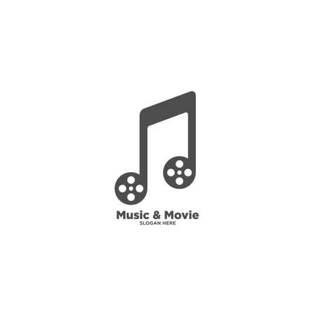 music clip cinema media entertainment logo design template 向量圖像