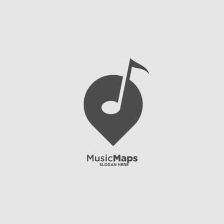 Music Note Location Logo Design Template Ilustracja