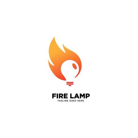 Fire Lamp logo template, vector illustration icon element - Vector