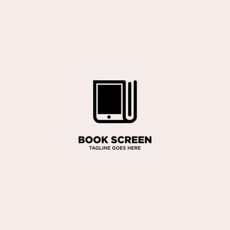 Book Screen logo template, vector illustration - Vector