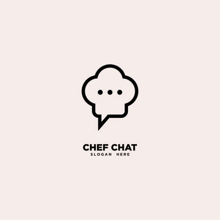 Chef Chat logo template, vector illustration - Vector
