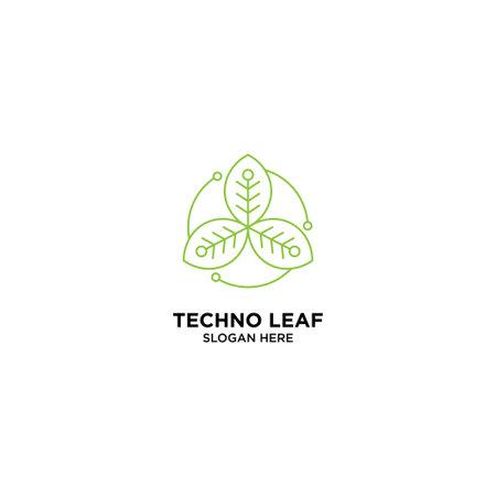 Techno Leaf Monoline Logo Design Template