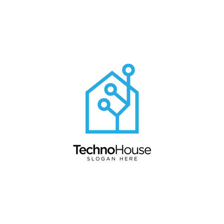 Smart Home Logo Design with Monoline Style