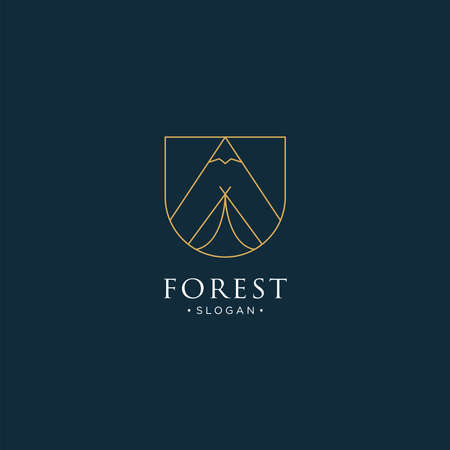 monoline forest, mountain and wave logo icon vector
