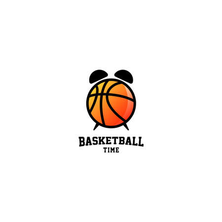 Basketball Time Logo Design Vector