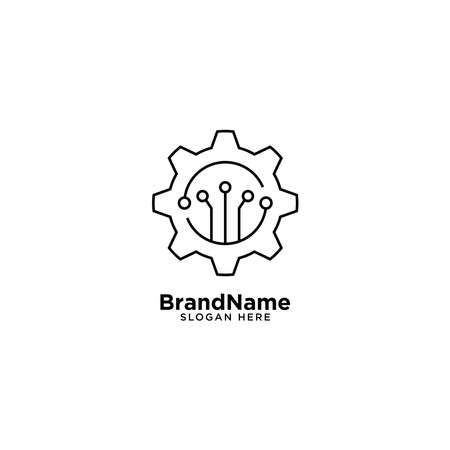 Gear Tech and Mechanial Engineering Logo with Monoline Style Logos