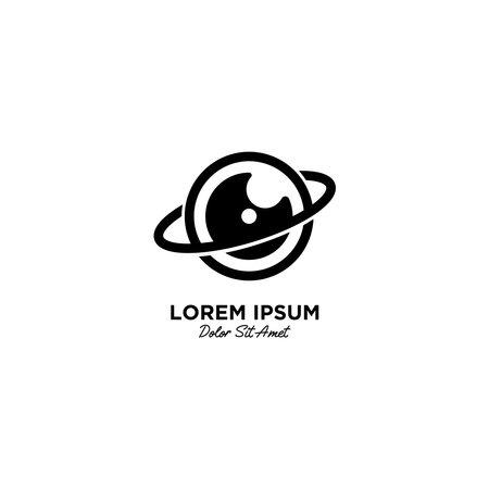 Camera Planet logo vector icon illustration