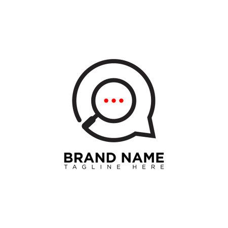 Search Talk Conversations Bubble Logo Design