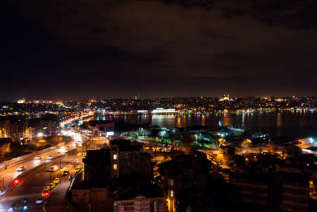 istanbul night: Night view of Golden Horn Bay Editorial