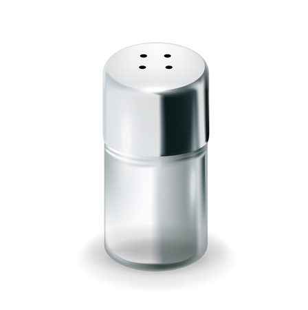 salt: salt glass shaker isolated on white background