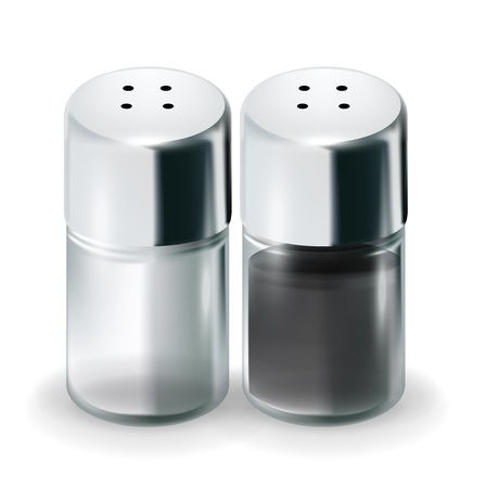 shakers: salt and pepper glass shakers isolated on white Illustration