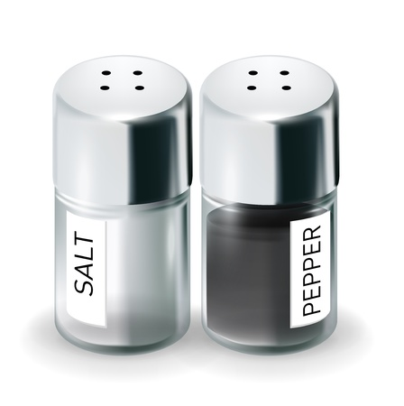 shakers: labelled salt and pepper shakers isolated on white