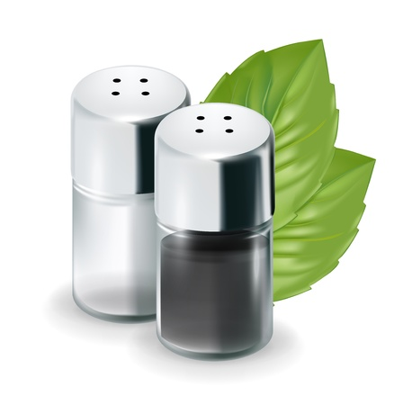 shakers: salt and pepper shakers with leaves isolated on white