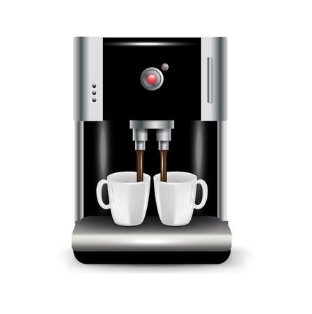 koffiemachine met kopjes geïsoleerd op wit