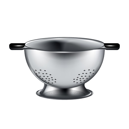 drainer: silver colander isolated on white background