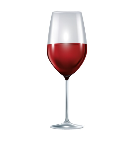 winetasting: single glass with red wine isolated on white Illustration