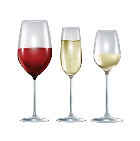 glass wine: three glasses with wine and champagne isolated on white