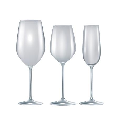 winetasting: set of three crystal empty glasses isolated on white