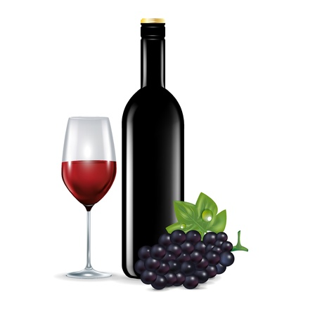 glass with red wine, grape and bottle isolated on white Illustration