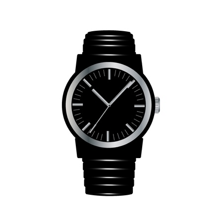 black wrist watch isolated on white background