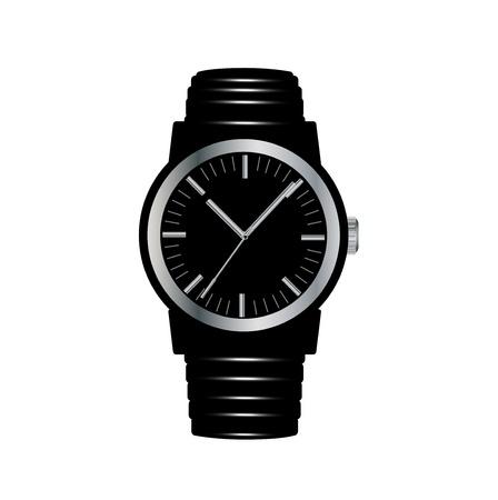zwarte horloge geïsoleerd op witte achtergrond