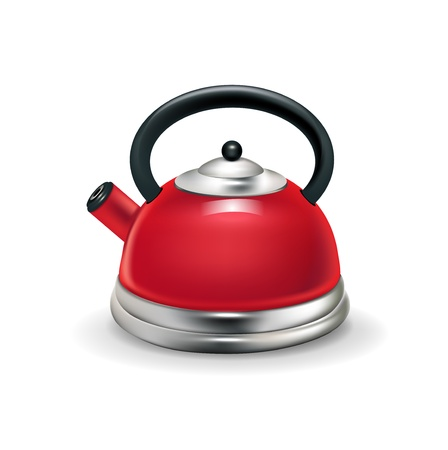 single red kettle isolated on white background