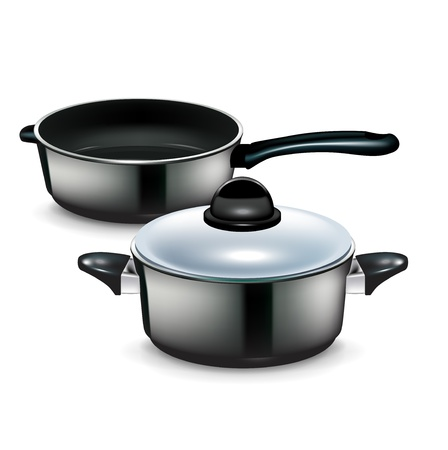 kitchen pot and pan isolated on white background