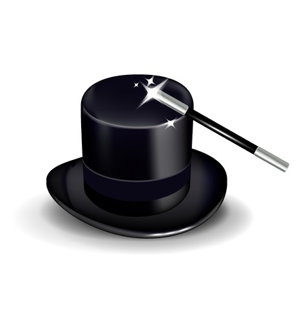 requisite: hat with magic wand isolated
