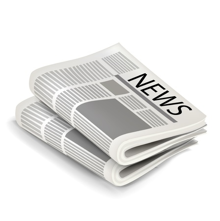newspaper headline: two news papers isolated on white background