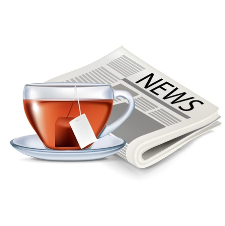 newspaper and cup of tea isolated on white Stock Vector - 20227206