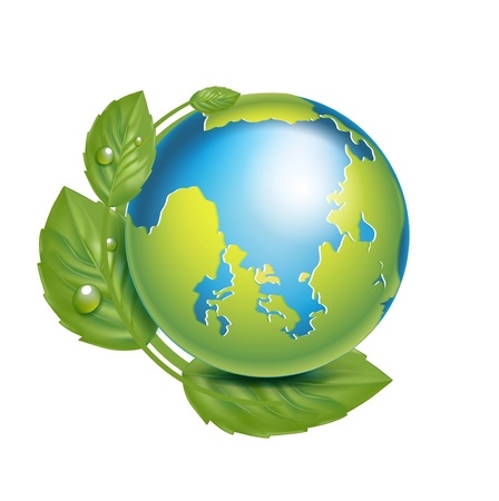 earth globe with leaves isolated on white background