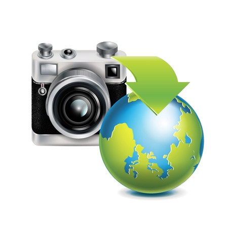 film role: camera icon and earth globe; share concept; isolated on white