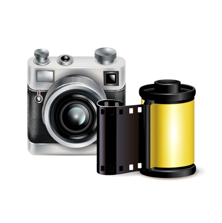 film role: camera icon and film role isolated on white