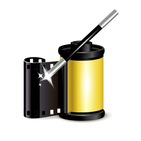 film role with magic wand isolated on white Stock Vector - 20227247
