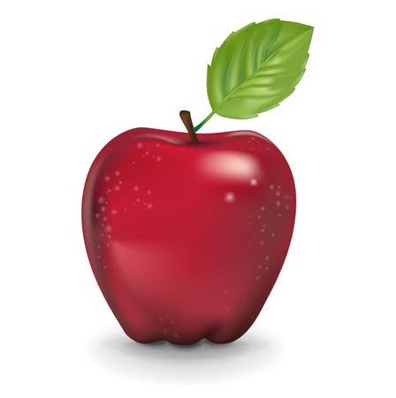 simple red apple isolated on white background Illustration