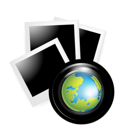 camera lens with globe and photos isolated Stock Vector - 20227121