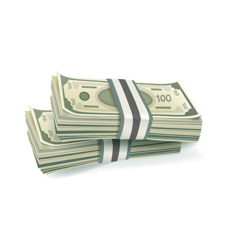 two stacks of money isolated on white background Stock Vector - 20227141